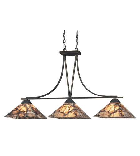 ELK Lighting Imperial Granite 3 Light Island Light in Antique Brass 9008/3 photo