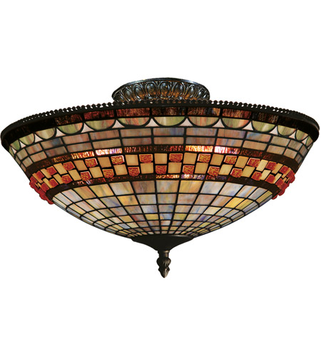 ELK 934-CB Jewelstone 3 Light 16 inch Classic Bronze Semi Flush Mount Ceiling Light photo