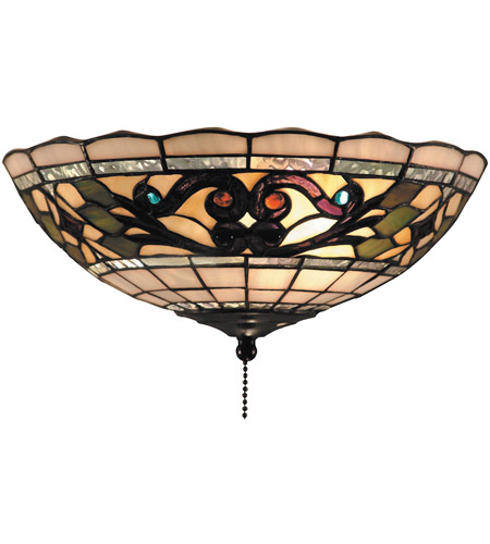 ELK 990-D Tiffany Buckingham 2 Light 12 inch Vintage Antique Flush Mount Ceiling Light in Tiffany D Glass photo