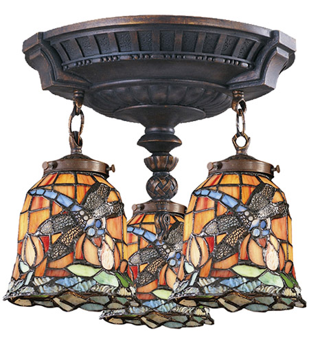 ELK 997-AW-12 Mix-N-Match 3 Light 14 inch Aged Walnut Semi Flush Mount Ceiling Light in Tiffany 12 Glass, Incandescent photo