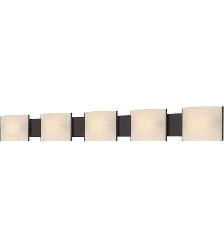 ELK BV715-10-45 Pannelli 5 Light 52 inch Oil Rubbed Bronze Vanity Light Wall Light in White Opal photo