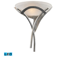ELK 001-TS-LED Aurora LED 16 inch Tarnished Silver Sconce Wall Light in White Faux Alabaster Glass