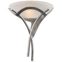 Aurora 1 Light 16 inch Tarnished Silver Wall Sconce Wall Light in White Faux Alabaster Glass, Incandescent