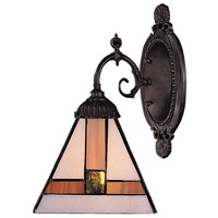 Mix-N-Match 1 Light 5 inch Tiffany Bronze Wall Sconce Wall Light in Standard, Tiffany 01 Glass