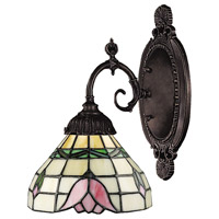 Mix-N-Match 1 Light 5 inch Tiffany Bronze Wall Sconce Wall Light in Standard, Tiffany 09 Glass