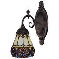 Mix-N-Match 1 Light 5 inch Tiffany Bronze Wall Sconce Wall Light in Standard, Tiffany 21 Glass