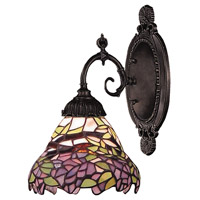 Mix-N-Match 1 Light 5 inch Tiffany Bronze Wall Sconce Wall Light in Standard, Tiffany 28 Glass