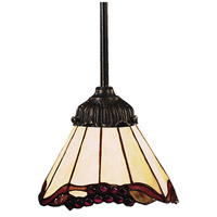 Mix-N-Match 1 Light 6 inch Tiffany Bronze Pendant Ceiling Light in Standard, Tiffany 03 Glass
