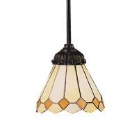 Diamond 1 Light 6 inch Tiffany Bronze Pendant Ceiling Light in Standard, Tiffany 05 Glass
