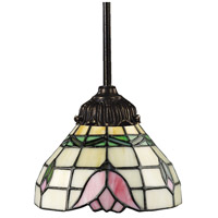 Mix-N-Match 1 Light 6 inch Tiffany Bronze Pendant Ceiling Light in Standard, Tiffany 09 Glass