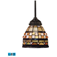 Mix-N-Match LED 6 inch Tiffany Bronze Mini Pendant Ceiling Light in Tiffany 10 Glass