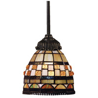 Jewelstone 1 Light 6 inch Tiffany Bronze Mini Pendant Ceiling Light in Tiffany 10 Glass, Incandescent