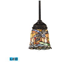 Mix-N-Match LED 6 inch Tiffany Bronze Mini Pendant Ceiling Light in Tiffany 12 Glass