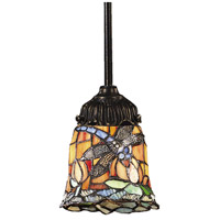 Mix-N-Match 1 Light 6 inch Tiffany Bronze Pendant Ceiling Light in Tiffany 12 Glass, Incandescent