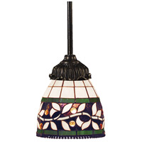 Mix-N-Match 1 Light 6 inch Tiffany Bronze Pendant Ceiling Light in Standard, Tiffany 13 Glass