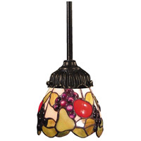 Mix-N-Match 1 Light 6 inch Tiffany Bronze Pendant Ceiling Light in Standard, Tiffany 19 Glass