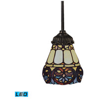 ELK 078-TB-21-LED Mix-N-Match LED 6 inch Tiffany Bronze Pendant Ceiling Light in Tiffany 21 Glass