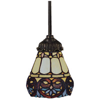 Mix-N-Match 1 Light 6 inch Tiffany Bronze Pendant Ceiling Light in Standard, Tiffany 21 Glass