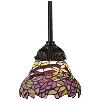 Mix-N-Match 1 Light 6 inch Tiffany Bronze Pendant Ceiling Light in Standard, Tiffany 28 Glass