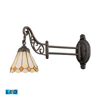 Mix-N-Match 24 inch 13.5 watt Tiffany Bronze Swingarm Sconce Wall Light in LED, Tiffany 05 Glass