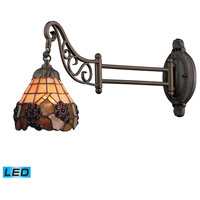 Mix-N-Match 24 inch 13.5 watt Tiffany Bronze Swingarm Sconce Wall Light in LED, Tiffany 07 Glass