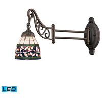 Mix-N-Match 24 inch 13.5 watt Tiffany Bronze Swingarm Sconce Wall Light in LED, Tiffany 13 Glass