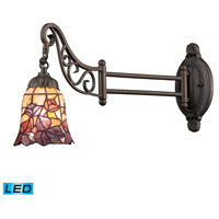 Mix-N-Match 24 inch 13.5 watt Tiffany Bronze Swingarm Sconce Wall Light in LED, Tiffany 17 Glass