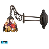 Mix-N-Match 24 inch 13.5 watt Tiffany Bronze Swingarm Sconce Wall Light in LED, Tiffany 19 Glass