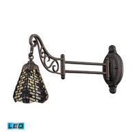 Mix-N-Match 24 inch 13.5 watt Tiffany Bronze Swingarm Sconce Wall Light in LED, Tiffany 20 Glass