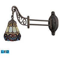 Mix-N-Match 24 inch 13.5 watt Tiffany Bronze Swingarm Sconce Wall Light in LED, Tiffany 21 Glass