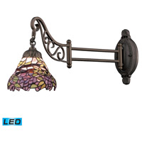 Mix-N-Match 24 inch 13.5 watt Tiffany Bronze Swingarm Sconce Wall Light in LED, Tiffany 28 Glass