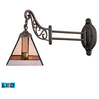 ELK 079-TB-01-LED Mix-N-Match 24 inch 13.5 watt Tiffany Bronze Swingarm Sconce Wall Light in LED, Tiffany 01 Glass