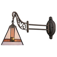 Mix-N-Match 24 inch 60 watt Tiffany Bronze Swingarm Wall Light in Standard, Tiffany 01 Glass