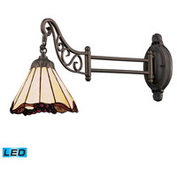 Mix-N-Match 24 inch 13.5 watt Tiffany Bronze Swingarm Sconce Wall Light in LED, Tiffany 03 Glass