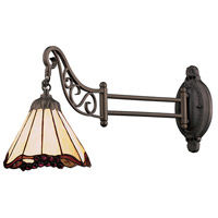 Mix-N-Match 24 inch 60 watt Tiffany Bronze Swingarm Wall Light in Standard, Tiffany 03 Glass