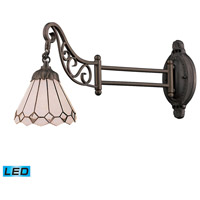 ELK 079-TB-04-LED Mix-N-Match 24 inch 13.5 watt Tiffany Bronze Swingarm Sconce Wall Light in LED, Tiffany 04 Glass