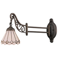 Mix-N-Match 24 inch 60 watt Tiffany Bronze Swingarm Wall Light in Standard, Tiffany 04 Glass