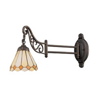 Mix-N-Match 24 inch 60 watt Tiffany Bronze Swingarm Wall Light in Standard, Tiffany 05 Glass