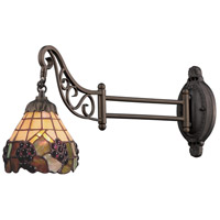 Mix-N-Match 24 inch 60 watt Tiffany Bronze Swingarm Wall Light in Standard, Tiffany 07 Glass