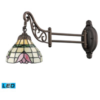 Mix-N-Match 24 inch 13.5 watt Tiffany Bronze Swingarm Sconce Wall Light in LED, Tiffany 09 Glass