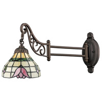 ELK 079-TB-09 Mix-N-Match 24 inch 60 watt Tiffany Bronze Swingarm Wall Light in Standard, Tiffany 09 Glass