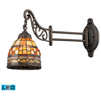 ELK 079-TB-10-LED Mix-N-Match 24 inch 13.5 watt Tiffany Bronze Swingarm Sconce Wall Light in LED, Tiffany 10 Glass