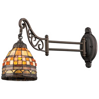 ELK 079-TB-10 Mix-N-Match 24 inch 60 watt Tiffany Bronze Swingarm Wall Light in Standard, Tiffany 10 Glass