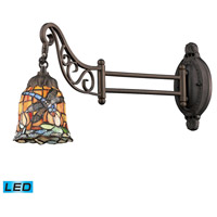 Mix-N-Match 24 inch 13.5 watt Tiffany Bronze Swingarm Sconce Wall Light in LED, Tiffany 12 Glass