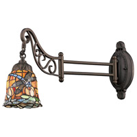 Mix-N-Match 24 inch 60 watt Tiffany Bronze Swingarm Wall Light in Standard, Tiffany 12 Glass