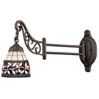 Mix-N-Match 24 inch 60 watt Tiffany Bronze Swingarm Wall Light in Standard, Tiffany 13 Glass
