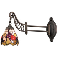 Mix-N-Match 24 inch 60 watt Tiffany Bronze Swingarm Wall Light in Standard, Tiffany 19 Glass