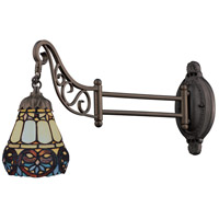 Mix-N-Match 24 inch 60 watt Tiffany Bronze Swingarm Wall Light in Standard, Tiffany 21 Glass