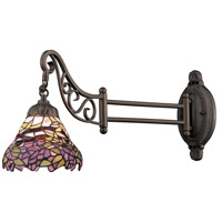 Mix-N-Match 24 inch 60 watt Tiffany Bronze Swingarm Wall Light in Standard, Tiffany 28 Glass
