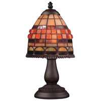 ELK 080-TB-10 Jewelstone 13 inch 25 watt Tiffany Bronze Table Lamp Portable Light in Tiffany 10 Glass